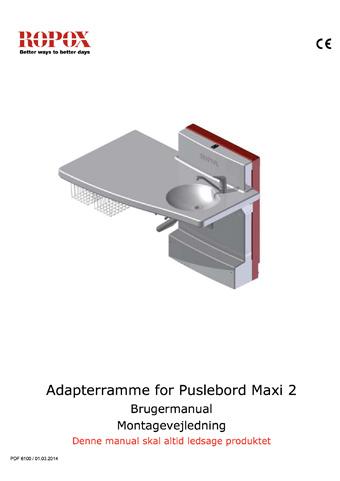 Ropox brugermanual og montagevejledning Maxi2 Adapterramme 80 mm