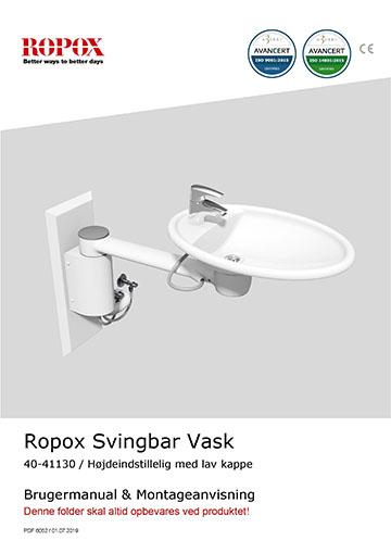 Ropox bruger- og montagevejledning - Svingbar Vask højdeindstillelig med lav kappe