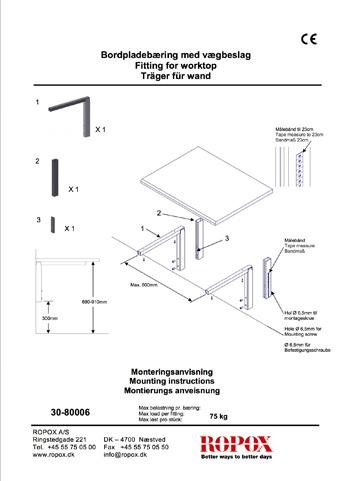 Bordpladebæring med vægbeslag
