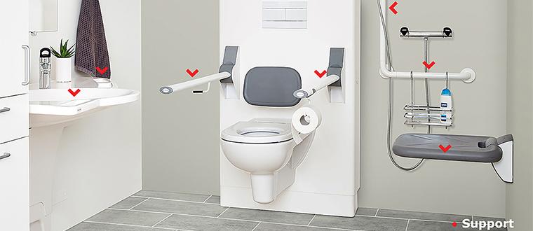 Shower seat / Bruseklapsæde support points