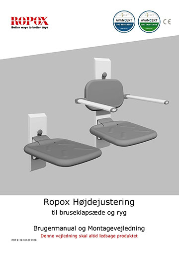 Ropox bruger- og montagevejledning - Højdejustering til brusklapsæde
