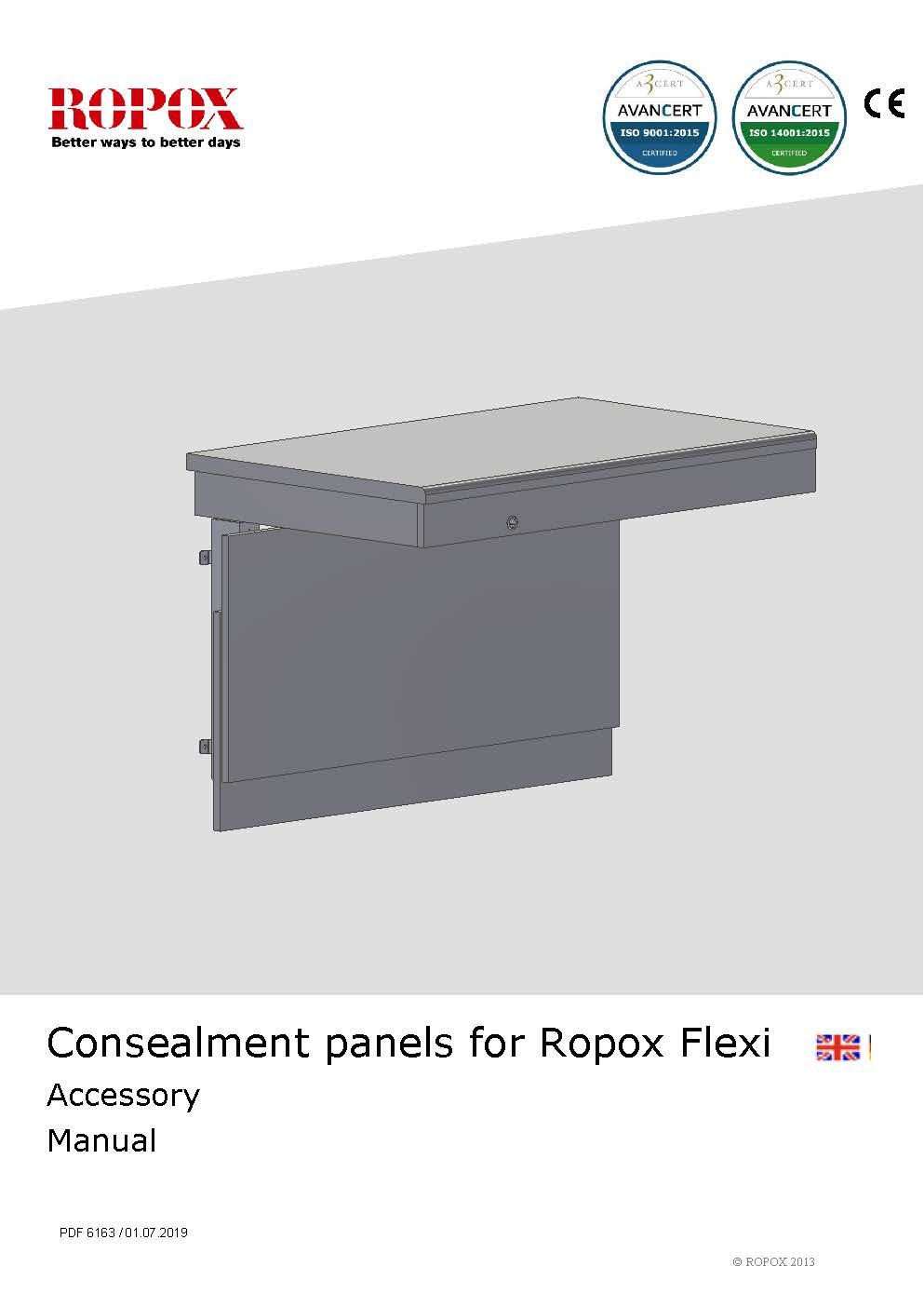Ropox bruger- og montagevejledning - Dækplader til Flexi bordstel